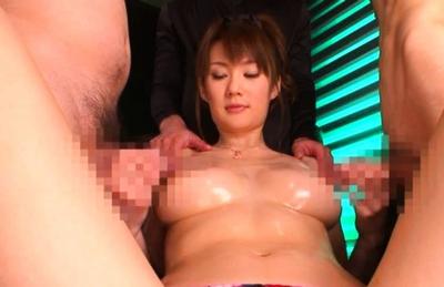 Erika Kirihara is a lovely big boobed Asian doll gives a double blowjob
