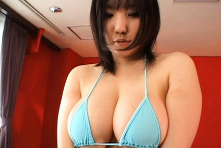 Hot Japanese model has huge tits