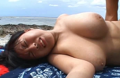 Rin Aki Big Titted Beach Bunny Gets Titties Fucked And A Rear Fucking On THe Beach