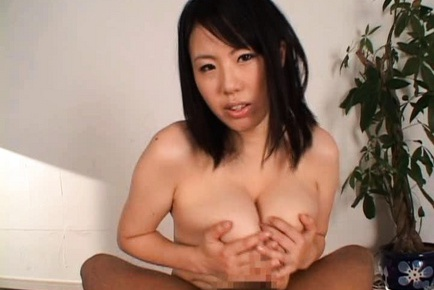 Busty Asian Rin Aoki sucks and boob fucks a dildo and a real cock.