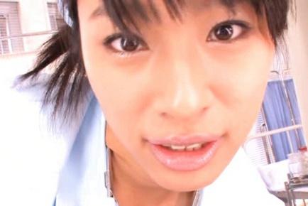 Hana Haruna Asian model is a busty Asian nurse
