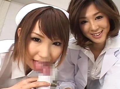 Ai Miyazak and Nana Saeki horny Asian nurses enjoy sucking cock
