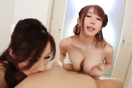 Horny Japanese chick starts sharing the same dick in threesome