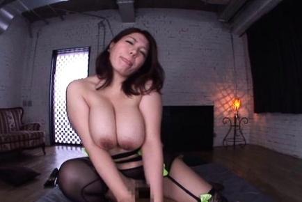 Curvaceous busty mature Mizuki Ann arranges titfuck rides dick on pov