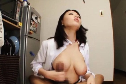 Busty sweetheart Mao Hamasaki licks dick and makes titfuck on pov