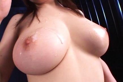 Jizz on tits for cock sucking Japanese bimbo